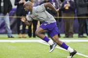 Adrian Peterson #28 of the Minnesota Vikings warms up on field before the game against the Indianapolis Colts on December 18, 2016 at US Bank Stadium in Minneapolis, Minnesota. Peterson returns to play after injuring his knee in week two of the season.