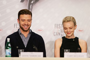 Actors Justin Timberlake and Carey Mulligan attends the 'Inside Llewyn Davis' Press Conference during The 66th Annual Cannes Film Festival at Palais des Festivals on May 19, 2013 in Cannes, France.