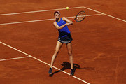 Danielle Collins of the USA hits a backhand during her first round match against Caroline Wozniacki of Denmark during day three of the International BNL d'Italia at Foro Italico on May 14, 2019 in Rome, Italy.