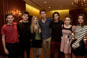 """(L-R) Actors Travis Tope, Timothee Chalemet, Elena Kampouris, Ansel Elgort, William Peltz, Kaitlyn Dever and Katherine C. Hughes of the film """"MEN, WOMEN & CHILDREN"""" attend the International """"Conversation"""" Session during the 2014 Toronto International Film Festival at Fairmont Royal York on September 7, 2014 in Toronto, Canada."""