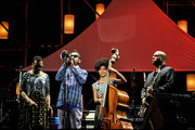 (L-R) Dee Dee Bridgewater, Roy Hargrove, Esperanza Spalding and Troy Roberts perform on stage at the 2014 International Jazz Day Global Concert on April 30, 2014 in Osaka, Japan.
