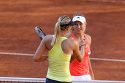 Maria Sharapova of Russia shakes hands at the net after her straight sets victory in her semi final match against Caroline Wozniacki of Denmark during day seven of the Internazoinali BNL D'Italia at the Foro Italico Tennis Centre  on May 14, 2011 in Rome, Italy.