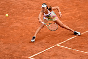 Ana Ivanovic of Serbia plays a forehand in her match against Christina Mchale of the United States on Day Four of The Internazionali BNL d'Italia on May 11, 2016 in Rome, Italy.