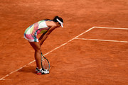Ana Ivanovic of Serbia reacts during her match against Christina Mchale of the United States on Day Four of The Internazionali BNL d'Italia on May 11, 2016 in Rome, Italy.