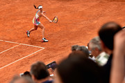 Ana Ivanovic of Serbia plays a backhand in her match against Christina Mchale of the United States on Day Four of The Internazionali BNL d'Italia on May 11, 2016 in Rome, Italy.