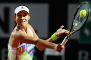 Ana Ivanovic of Serbia in action during her match against Anastasia Pavlyuchenkova of Russia during day two of The Internazionali BNL d'Italia 2016 on May 09, 2016 in Rome, Italy.
