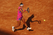 Victoria Azarenka of Belarus plays a forehand in her round one match against Venus Williams of The United States during day three of the Internazionali BNL d'Italia at Foro Italico on September 16, 2020 in Rome, Italy.