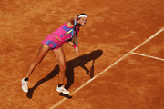 Victoria Azarenka of Belarus serves in her round one match against Venus Williams of The United States during day three of the Internazionali BNL d'Italia at Foro Italico on September 16, 2020 in Rome, Italy.