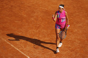 Victoria Azarenka of Belarus celebrates a point in her round one match against Venus Williams of The United States during day three of the Internazionali BNL d'Italia at Foro Italico on September 16, 2020 in Rome, Italy.