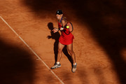 Angelique Kerber of Germany plays a forehand in their ladies singles third round match against Jesena Ostapenko of Latvia during Day Six of the Internazionali BNL D'Italia 2021 at Foro Italico on May 13, 2021 in Rome, Italy. Sporting stadiums around Italy remain under strict restrictions due to the Coronavirus Pandemic as Government social distancing laws prohibit fans inside venues resulting in games being played behind closed doors.