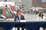 In this screengrab, Governor of New York Andrew Cuomo and Michaela Cuomo speak at the Intrepid Sea, Air & Space Museum's virtual Memorial Day commemoration ceremony on May 25, 2020 in New York City.
