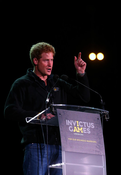 Prince Harry speaks on stage during the Jaguar Land Rover Invictus Games Closing Ceremony at the South Lawn of Queen Elizabeth Olympic Park on September 14, 2014 in London, England.