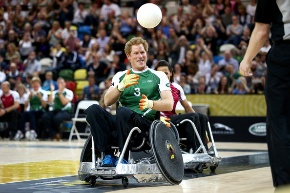 Prince Harry scores a try in the Jaguar Land Rover Exhibition Wheelchair Rugby match during Day Two of the Invictus Games at the Olympic Park on September 12, 2014 in London, England.
