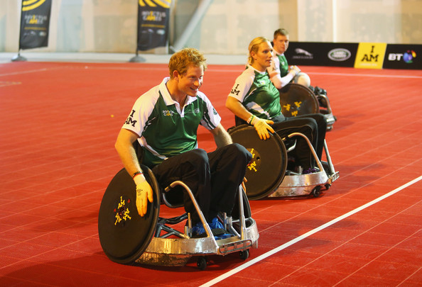 (STRICTLY EMBARGOED FOR PUBLICATION UNTIL 7PM BST) Prince Harry warms up with Zara Tindall during a training session for the Jaguar Land Rover Exhibition Wheelchair Rugby Match on day 2 of the Invictus Games, presented by Jaguar Land Rover at Queen Elizabeth Olympic Park on September 12, 2014 in London, England.