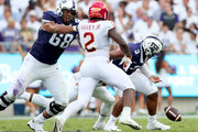 Shawn Robinson #3 of the TCU Horned Frogs fumbles the ball against the Iowa State Cyclones in the first half at Amon G. Carter Stadium on September 29, 2018 in Fort Worth, Texas.