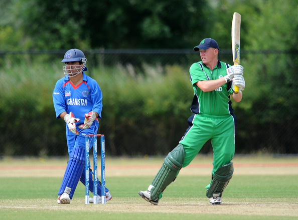 Kevin O'Brien Kevin O'Brien of Ireland in action as Karim Sadiq of Afghanistan watches during the ICC World Cricket League Division One match between Ireland and Afghanistan at the Rotterdam VOC on July 3, 2010 in Rotterdam, Netherlands.