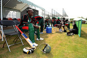 Captain Maurice Ouma of Kenya sits and waits to bat during the ICC World Cricket League Division One match between Ireland and Kenya at the Rotterdam VOC on July 1, 2010 in Rotterdam, Netherlands.