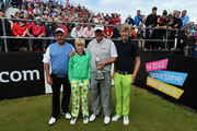 Darren Clarke of Northern Ireland (second from r) with his father Godfrey Clarke and sons Tyrone Clarke and Conor Clarke on the 1st tee during the pro-am for the 2012 Irish Open held on the Dunluce Links at at Royal Portrush Golf Club on June 27, 2012 in Portrush, Northern Ireland.