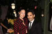 Cecilia Dean (L) and James Kaliardos attend the dinner following the Isabel And Ruben Toledo PA At Lane Bryant Flagship Store on September 30, 2015 in New York City.