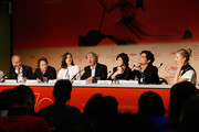 """(L-R) Actors Hippolyte Girardot, Mathieu Amalric, Marion Cotillard, director Arnaud Desplechin, actors Charlotte Gainsbourg, Louis Garre and Alba Rohrwacher attend the """"Ismael's Ghosts (Les Fantomes d'Ismael)"""" press conference during the 70th annual Cannes Film Festival at Palais des Festivals on May 17, 2017 in Cannes, France."""