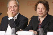 """(L-R) Actors Hippolyte Girardot and Mathieu Amalric attend the """"Ismael's Ghosts (Les Fantomes d'Ismael)"""" press conference during the 70th annual Cannes Film Festival at Palais des Festivals on May 17, 2017 in Cannes, France."""