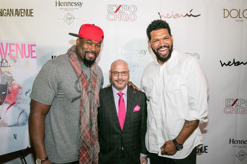 Israel Idonije Michigan Avenue Magazine's Art of the City Issue Release Celebration With Cover Artist Hebru Brantley at Dolce Italian