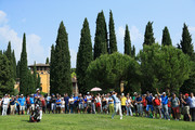 Matteo Manassero of Italy plays his second shot on the 18th hole during day two of the Italian Open at Gardagolf CC on June 1, 2018 in Brescia, Italy.