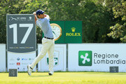 Matteo Manassero of Italy tees off on the 17th hole during day two of the Italian Open at Gardagolf CC on June 1, 2018 in Brescia, Italy.