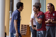 Coach Italy Antonio Conte (R) and Gianluigi Buffon during Italy Training Session at Coverciano on September 1, 2014 in Florence, Italy.