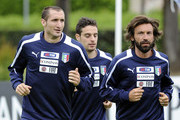 (L-R) Giorgio Chiellini, Giacomo Bonaventura and Andrea Pirlo during an Italy training session ahead of their international friendly against San Marino at Coverciano on May 28, 2013 in Florence, Italy.
