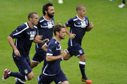 (L-R) Giorgio Chiellini, Andrea Pirlo, Claudio Marchisio and Sebastian Giovinco of Italy during a training session at Coverciano on October 9, 2012 in Florence, Italy.