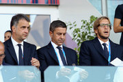 (L-R) Michele Uva General Director of FIGC, Alessandro Costacurta Commissioner of FIGC and Massimo Ambrosini team Manager of Italy U21 look on during the International Friendly match between Italy U21 and Albania U21 at Sardegna Arena on September 11, 2018 in Cagliari, Italy.