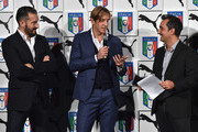 Gianluca Zambrotta, Massimo Ambrosini and Nicola Savino attend the launch of new Puma home kit at Palazzo Vecchio on November 9, 2015 in Florence, Italy.