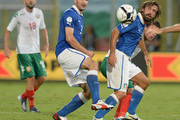 Andrea Pirlo (R) and Giorgio Chiellini of Italy during the FIFA 2014 World Cup Qualifier group B match between Italy and Bulgaria at Stadio Renzo Barbera on September 6, 2013 in Palermo, Italy.