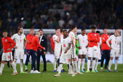 Raheem Sterling of England looks dejected following defeat in the UEFA Euro 2020 Championship Final between Italy and England at Wembley Stadium on July 11, 2021 in London, England.