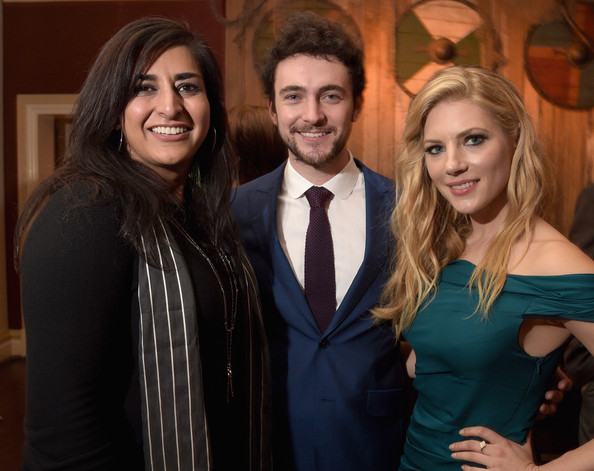 (L-R) President, Television Group and Digital, MGM Studios, Roma Khanna, actors George Blagden and Katheryn Winnick attend the JAN 2015 TCA History Vikings Party on January 9, 2015 in Pasadena, California.