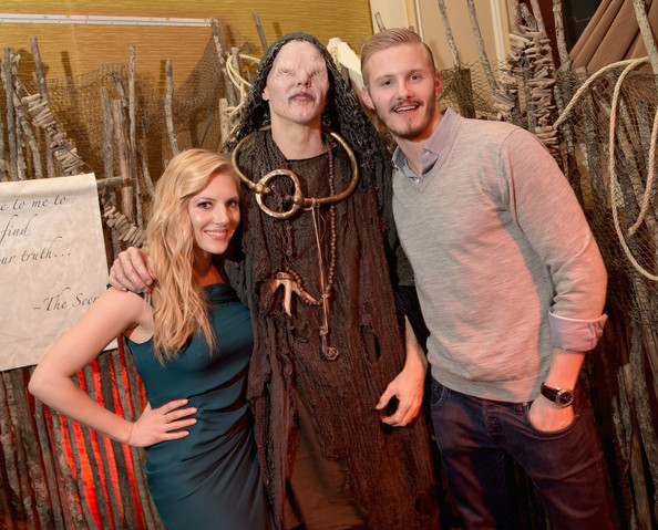 (L-R) Actress Katheryn Winnick, The Seer and actor Alexander Ludwig attend the JAN 2015 TCA History Vikings Party on January 9, 2015 in Pasadena, California.