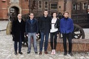 (L-R) Stanley Tucci, director Bryan Singer, Nicholas Hoult, Eleanor Tomlinson and Ewan McGregor attend a photocall for 'Jack The Giant Slayer' at Hampton Court Palace on February 12, 2013 in London, England.