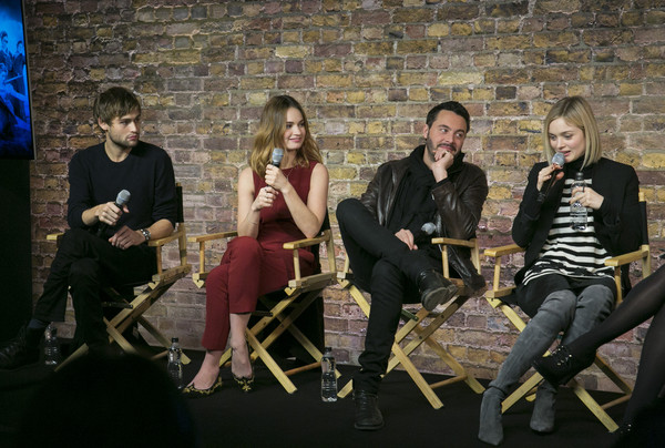 Meet the Cast: 'Pride and Prejudice and Zombies' [cast: pride and prejudice and zombies,movie,social group,sitting,fun,event,photography,conversation,music,douglas booth,bella heathcote,jack huston,lily james,l-r,covent garden,england,london]