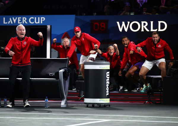Laver Cup 2019 - Day 3 [tennis,sports,racquet sport,individual sports,team,event,competition event,championship,competition,players,dominic thiem,match point,rest,team europe,palexpo,team world,taylor fritz of team world,laver cup,singles match]