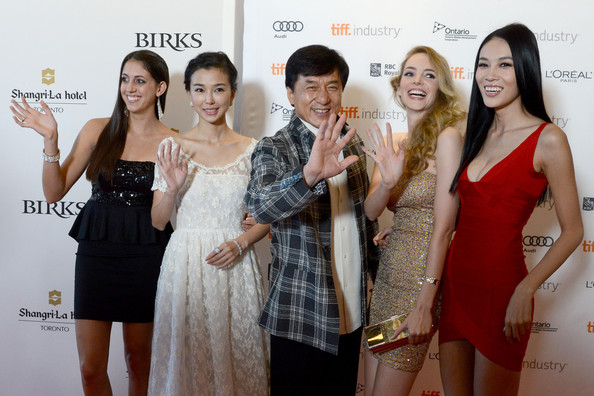 Asian Film Summit Banquet - photo call - 2012 Toronto International Film Festival [skin,red carpet,dress,beauty,fashion,event,carpet,premiere,shoulder,flooring,jackie chan,actresses,actresses,yao xing tong,caitlin dechelle,laura weissbecker,l-r,call,asian film summit banquet,toronto international film festival]