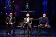 Geoff Michael, Hugh Jackman (C) and Jack Thompson during the media conference at the launch of the Jackman Furness Foundation for the Performing Arts (JFFPA) at the Western Australian Academy of Performing Arts on May 17, 2014 in Perth, Australia.