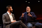 Hugh Jackman and Jack Thompson during the media conference at the launch of the Jackman Furness Foundation for the Performing Arts (JFFPA) at the Western Australian Academy of Performing Arts on May 17, 2014 in Perth, Australia.