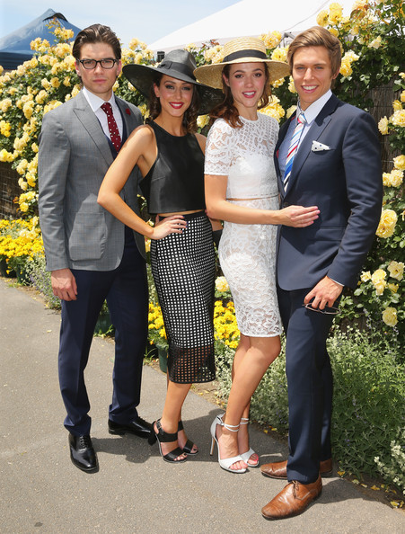 Celebrities Attend Stakes Day [celebrities,jackson gallagher,matt little,isabella giovinazzo,demi harman,people,yellow,social group,event,fashion,suit,dress,formal wear,ceremony,photography,melbourne,australia,flemington racecourse]