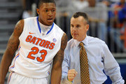 Guard Bradley Beal #23 of the Florida Gators listens to coach Billy Donovan during play against the Jackson State Tigers November 11, 2011 at the Stephen C. O'Connell Center in Gainesville, Florida.