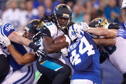 Chris Ivory #33 of the Jacksonville Jaguars runs into the endzone for a touchdown against the Indianapolis Colts  during the first quarter at Lucas Oil Stadium on October 22, 2017 in Indianapolis, Indiana.