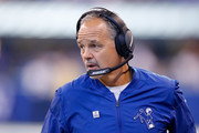 Head coach Chuck Pagano of the Indianapolis Colts looks on against the Jacksonville Jaguars during the first half at Lucas Oil Stadium on October 22, 2017 in Indianapolis, Indiana.