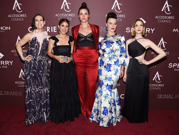 Accessories Council Hosts The 23rd Annual ACE Awards - Inside [dress,clothing,fashion,carpet,beauty,event,shoulder,premiere,red carpet,gown,accessories council,ace awards,award,l-r,annual ace awards,miriam shor,molly bernard,debi mazar,rosemary lepre forman,jacqueline demeterio]