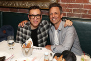 """Fred Armisen and Seth Meyers attend the opening night after party for """"Jacqueline Novak: Get on Your Knees"""" at  A.O.C. L aile ou la Cuisse on July 22, 2019 in New York City."""
