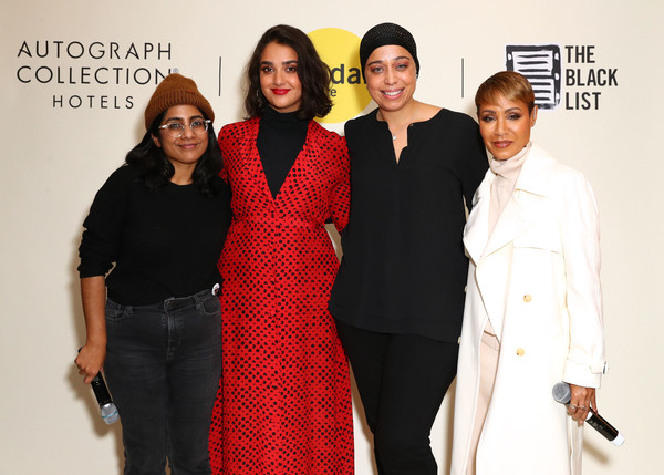 Autograph Collection Hotels And the Sundance Institute Host The 3nd Annual Power Women's Cocktail [power womens cocktail,red,event,fashion,premiere,formal wear,fashion design,pantsuit,suit,carpet,white-collar worker,hala,jada pinkett smith,geraldine viswanathan,jana babatunde-bey,will,l-r,autograph collection hotels,sundance institute host,executive producer]